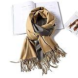 HUAHUA bufandas Caliente del otoño y del invierno bufandas, Pañuelo-mantón de la bufanda del babero del mantón Capa doble cara de dos colores imitación de la cachemira de la bufanda femenina del color