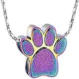 ZHSDTHJY Collar de Acero Inoxidable con Colgante de Pata de Perro Adecuado para el Color de la joyería Conmemorativa de Cenizas para Mascotas