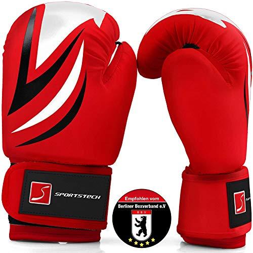 Sportstech Boxhandschuhe aus strapazierfähigem PU Leder für Kinder mit doppelter Qualitätsnaht   Perfekter Boxing Handschutz für Training am Sandsack, Boxsack empfohlen v. Berliner Boxverband