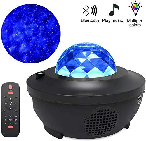 LED Sternenhimmel Projektor, Rotierende Wasserwellen Projektionslampe, Baby Ferngesteuerte Nachtlichter, Farbwechsel Musikspieler mit Bluetooth & Timer, für Schlafzimmer Kinder Dekoration