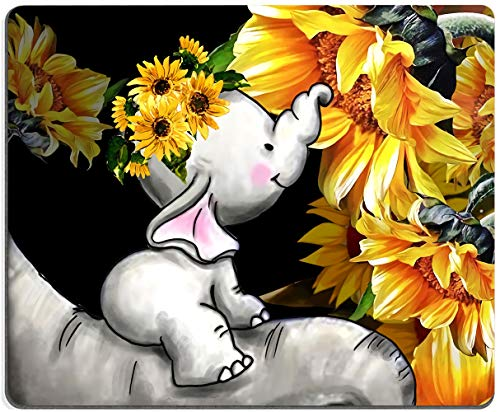 Mouse Pad, Baby Elephants with Sunflowers Mouse Pad, Cute MousePad, Gaming Mouse Mat, Square Waterproof MousePadNon-SlipRubberBaseMousePadsforOffice HomeLaptopTravel,9.5'x7.9'x0.12'Inch