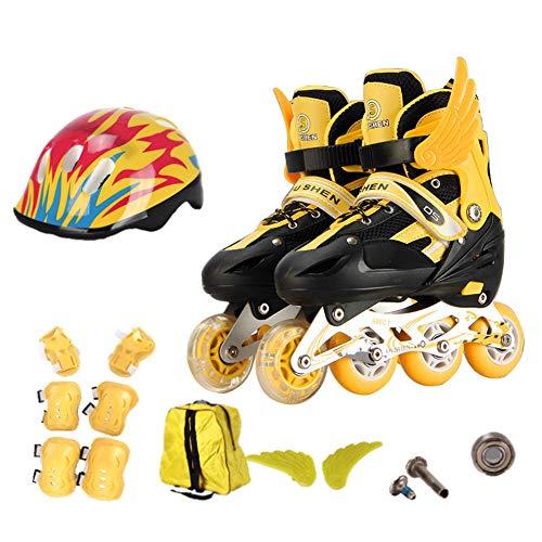 GUOCU Inline Skates Kinder/Erwachsene verstellbar mädchen/Jungen Inline Skates Rollschuhe PU Verschleißfeste Roller Skates Herren/Damen,Gelb,M(35-38)