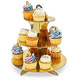 2er-Pack Cupcake-Ständer aus Pappe – 3-stöckiger Dessertständer Cupcake-Turm – Cupcake-Baum-Display für Babypartys, Hochzeiten, Geburtstage, Gold und Silber, 30 x 34 x 30 cm - 4