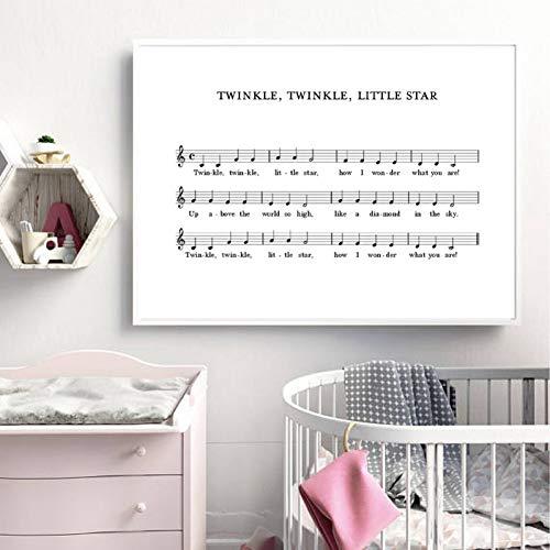 EPSMK - Cuadro decorativo para habitación de bebé, diseño de canción de cuna, 24x32inch(60x80cm)