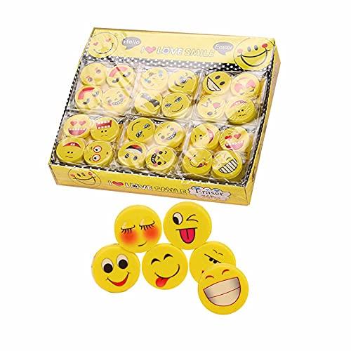 100 Pezzi Emoji Gomma, Gomme per Matita Emoji Gomma, Gomme per Matita, Gomma da Cancellare Molto Carina, Adatta come Regalo per i Bambini, per Correggere Errori di Battitura (Gialla)
