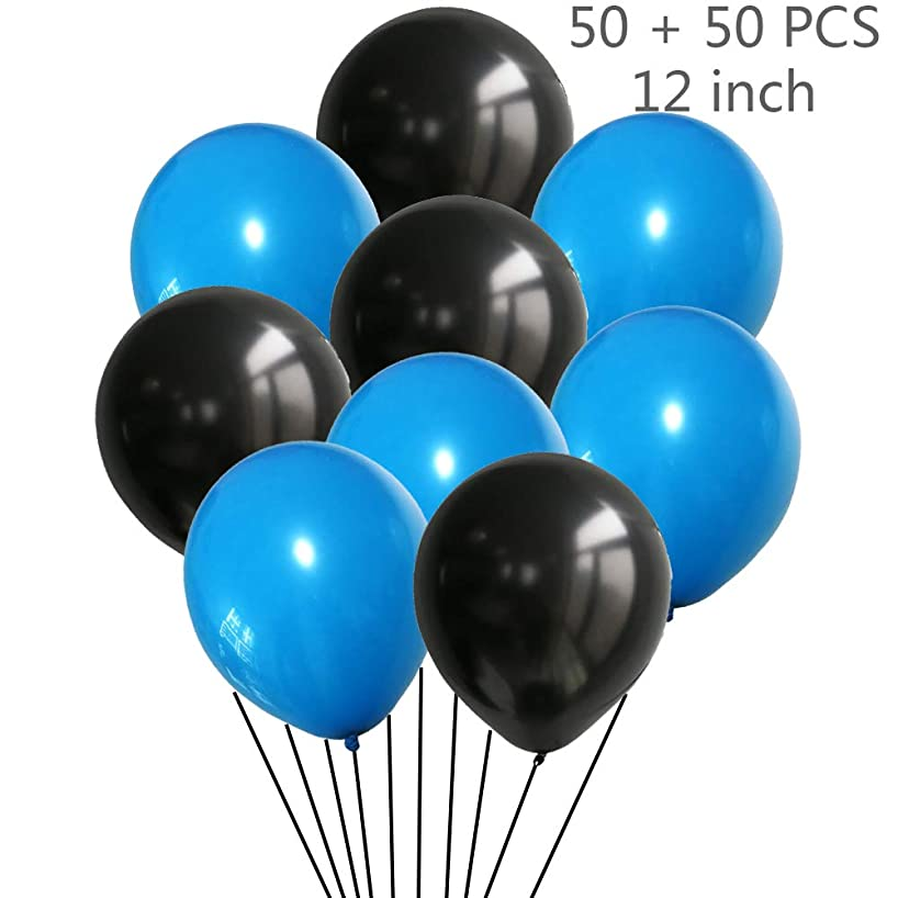 Juland 100 Pieces ? 30 cm Latex Blue and Black Balloons Helium Balloons Party Decorative Balloons for Baby Shower Party Wedding Birthday Decoration Bachelorette Party Balloons