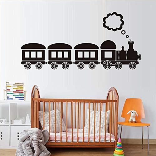 Cartoon Locomotief stoomreiniger, grappige muursticker voor kinderkamer, van vinyl, decoratie van vinyl, 122 x 59 cm