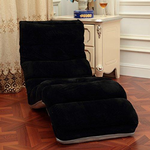 Pliable Chaise de plancher,Individuel Style japonais Divan-lits,Imperméable Canapé pliant,Réglable Canapé paresseux,Chaise de dossier Mini canapé Une lecture parfaite et regarder coussin tv-noir