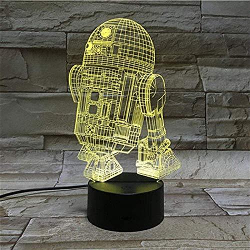 Lámpara de ilusión 3D, luz nocturna de ilusión 3D, luz nocturna 3D con cambio de 16 colores y control remoto Astromech Droid Robot R2 D2