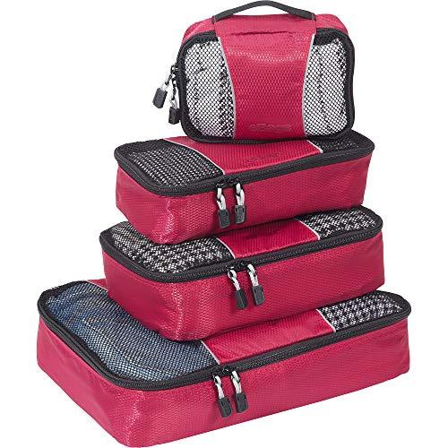 eBags Packing Cubes: 4-teiliges Packwürfel-Set, klein/mittel (Himbeere)