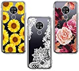 (3 Pack) for Cricket Ovation Case, AT&T Radiant Max U705AA Case, Shock-Absorption Anti-Scratch Crystal Clear Soft TPU Slim Bumper Protective Phone Case Cover for Cricket Ovation, Flower
