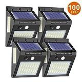 ERAY Luce Solare LED Esterno, Lampade Solari per Esterni con Rilevatori di Movimento 100 LED 1000 Lumen, IP65 impermeabili, 2200mAh, Lampade Solari per Giardino, Garage, 4 Pezzi