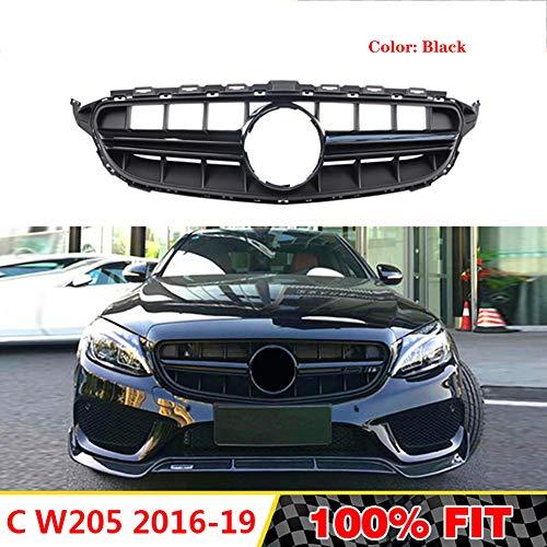LSYBB Frontgrill Geeignet für Mercedes C-Klasse W205 Amg Grille C180 C200 C250 C300 2016-2018 Ohne Emblem,Black