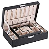 BEWISHOME Jewelry Box Organizer with 4 Watch Case Removable...