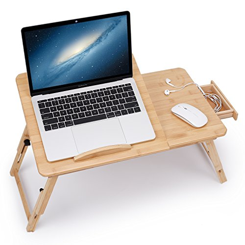Laptop Desk Adjustable Bamboo Breakfast Serving Bed Tray Tilting Top with Drawer