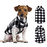 ASENKU Dog Sweater, Plaid Dog Fleece Vest, Soft Comfortable Pet Pajamas, Warm Winter Dog Shirt, Cold Weather Coat Jacket Pet Clothes for Small & Medium Dog Breeds (M, Black)