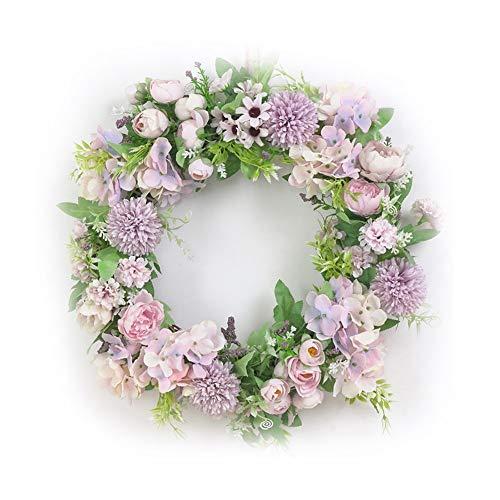Meideli Wreath for Outdoor, Artificial Flower Wreath Door Garland DIY Wedding Party Hanging Home Wall Decor - Light Purple