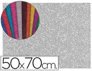 Liderpapel - Goma eva con purpurina 50x70cm 60g/m2 espesor 2mm plata (10 unidades)