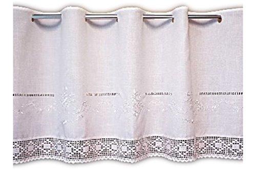 wunderschöne Bistrogardine 45x150 cm Scheibengardine Kurzgardine Gardine in Weiß Ton in Ton bestickt mit toller HÄKELSPITZE Stangendurchzug BAUERNSTIL Landhausstil SHABBY (45 cm hoch x150 cm breit)