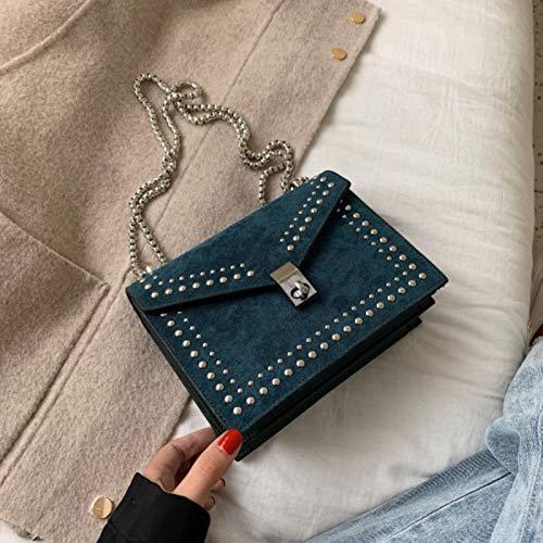 Hzryc Nuevos Diseñadores Rub Pequeño Remache Correa De Bloqueo De La Cadena Bolsas De Hombro del Bolso del Bolso De Cuero De Mini Carrera De Las Mujeres para Las Mujeres,Azul,19 Cm * 15cm * 8cm