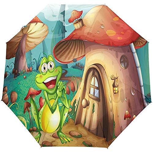 EW-OL Frosch in der Nähe des Pilzhauses Regenschirm Winddicht Regen Automatisch Öffnen Schließen Falten Reisen Anti-UV Sonnenschirme