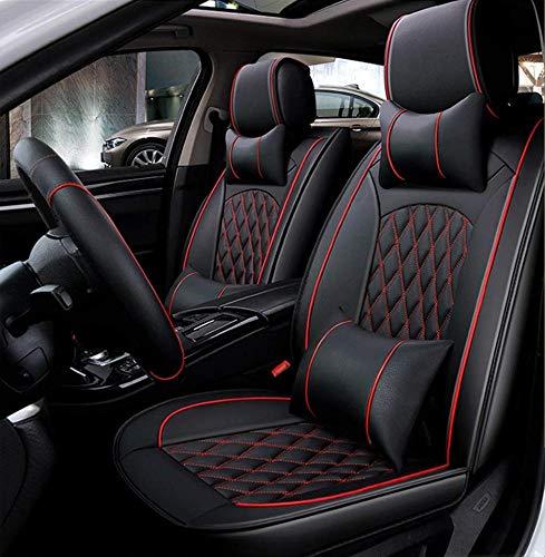 Ededi Leder Sitzbezüge-Set, Universal Gitter Autositzbezüge Set Voll Auto Vorderseite Und Rückseite, 9-Teiliges Set,Black+Red