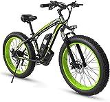 Bicicleta de montaña eléctrica, Adulto Fat Tire Bike Electric Mountain, 26 pulgadas ruedas, marco ligero de aleación de aluminio, delantero Suspensión, frenos de disco doble, eléctrico bicicleta de tr