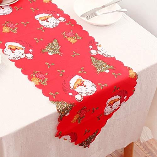 ONTODEX Christmas Table Runner - Santa Claus Table Linens for Home Decor, Housewarming Gift, Tableware, Place Setting, Seasonal Greenery