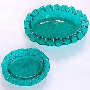 Artigianale Cristal de Murano - Juego de 2 ceniceros para vaciar los cuencos, color verde perdido
