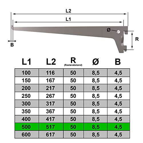 PRIOstahl® Regalträger 10 Stück - 500mm weiss 1-Reihig Regalsystem für Wandschiene Regalhalter