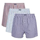 Vanever 3PK Men's Woven Boxers, 100% Cotton Boxer Shorts for Men, Boxershorts with Button Fly, Underwear Red Assorted Medium