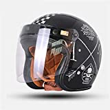 PURROMM Casco Moto Open Face Casco Harley Visiera Eaves UV Mezza Casco Occhiali protettivi Retro Style 3/4 Casco per Adulto,XXXXL