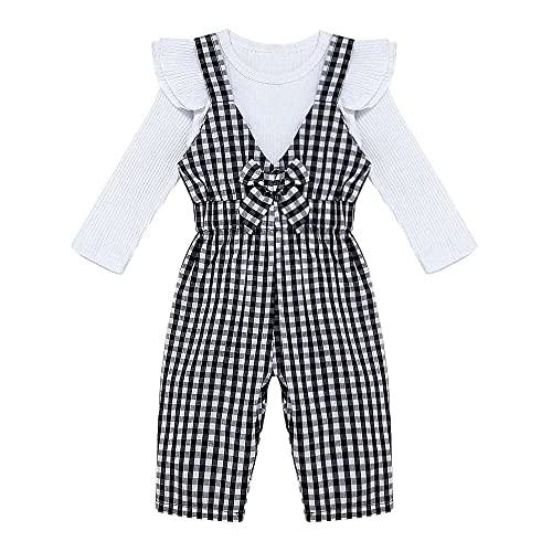 junmo shop Conjunto de 2 piezas para bebé y niña, manga larga, con volantes, mameluco de celosía