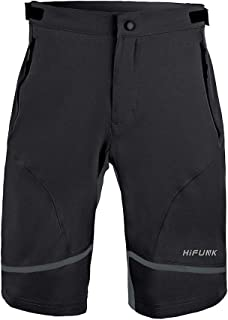 Hifunk Men's MTB Mountain Bike Cycling Shorts Loose-Fit Quick Dry Lightweight Baggy Bicycle Short Water-Resistant UPF 50+