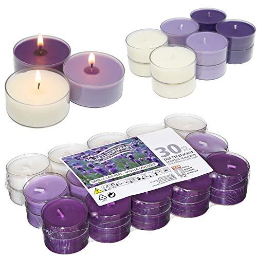 Smart-Planet® Kerzen Ambiente - 30 Stück Duftteelichter Teelichte Set Flower Vanille Lavendel Duft - transparente Hülle - 4 Stunden Lange Brenndauer