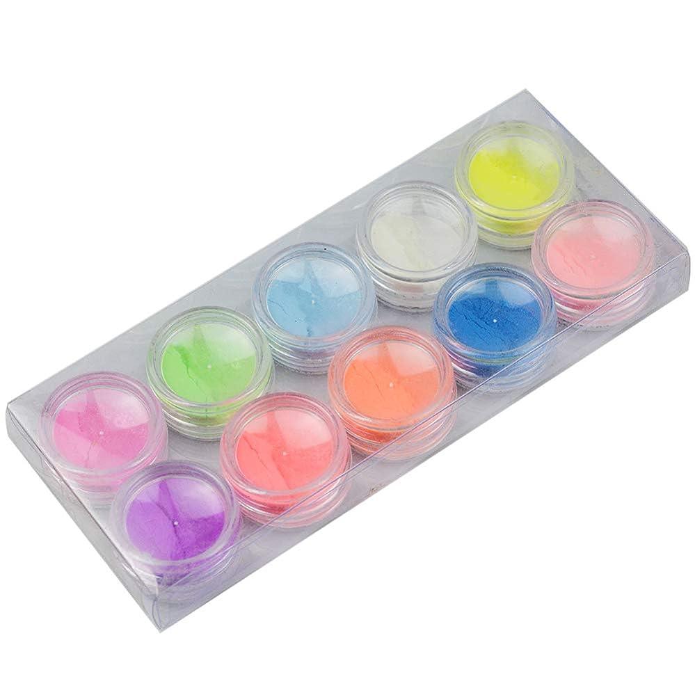 書く散髪軍団10Pcs/set Luminous Nail Powder UV Gel Polish Glow In The Dark Glitter Fluorescent Nail Tip Decoration Salon Nail Tools