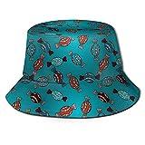 Sombrero lindo dibujado a mano Postre Ilustración sin costuras Patrón de verano pescador Cap Beach Sun Sombreros Gorras de pesca Gorra de béisbol Unisex plegable Bucket Sombreros Negro