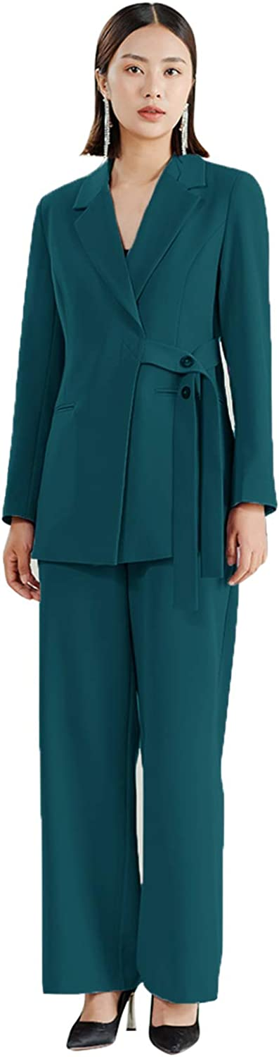 Suit for Women Casual Fashion Office Lady Suits Set Ties Blazer & Pants