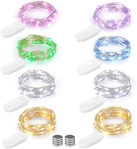 LED Lichterkette Batterie 8er 2M 20 LED Innen Micro Silber Batteriebetriebene Lichterkette für Weihnachten, Hochzeit, Party, Schlafzimmer, Tisch Dekoration, Mehrfarbig (Kommen mit 8 Stück Batterien)