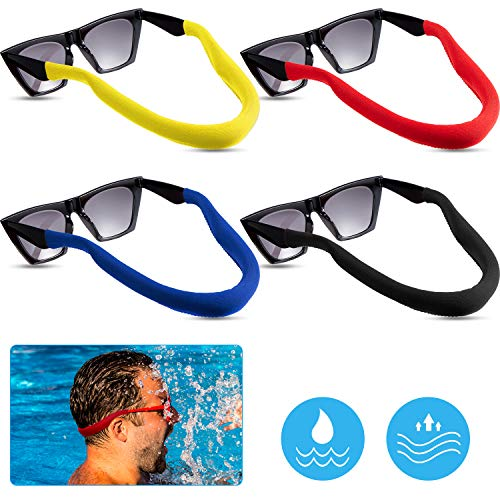 4 Pieces Floating Sunglass Strap Eyewear Retainer Floating Glasses Strap Sport Eyeglass Strap for Men and Women