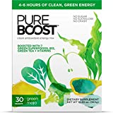 Pureboost Clean Energy Drink Mix with B12, 7 Organic Green Superfoods and Vitamins. Green Apple Flavor. No Sugar. No Sucralose. (30 Count, Green Mojo)