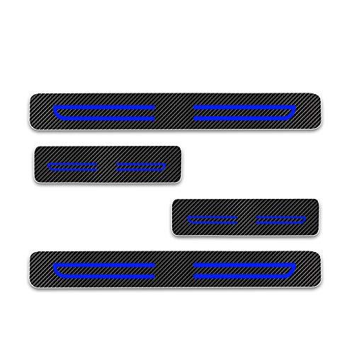 Pegatinas Adhesiva de Fibra de Carbono 4D, Protector de Umbral de la Puerta del Coche para Soul Sportage Niro Optima Sorento Azul 4 Piezas