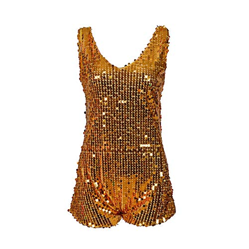 Pailletten-Overall, Einteiler, für Partys, Raves, zum Tanzen, Gold, Silber, mehrfarbig Gr. Small, gold