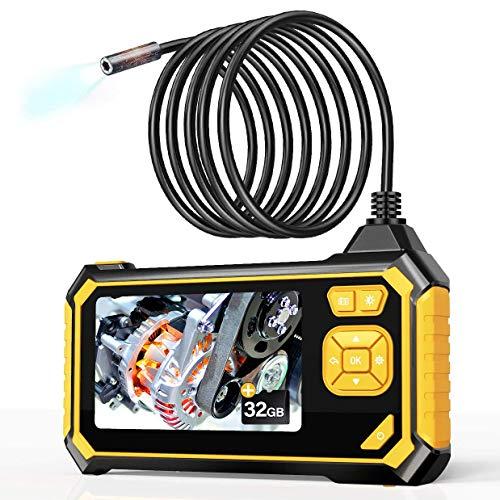 Endoscopio Industriale, YINAMA HD Telecamera Ispezione 4.3 Pollici Schermo LCD Boroscopio Snake Telecamera Impermeabile, 6 LED, Cavo Semirigido, Scheda TF da 32 GB Strumenti (5M)