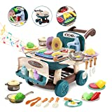 CUTE STONE Play Kitchen Mini Shopping Cart Toy with Music and Light,Color Changing Pretend Play Foods,Play Sink,Cookware Pots and Pans Playset,Role Play Simulated Cooking Set Gift for Kids Girls