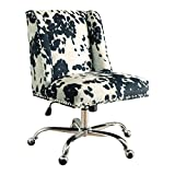 Linon Clayton Black Cow Print Office Chair, Metallic