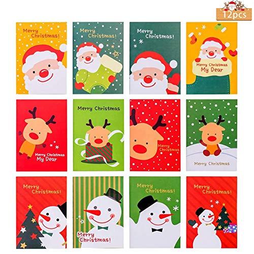 12 Unids Bloc de Notas de Navidad,Cuadernos de Bolsillo Navidad,Cuaderno de Dibujo Animado de Navidad,Mini Cuaderno de Notas,Mini Bloc de Notas,Cuadernos Navideños (B)