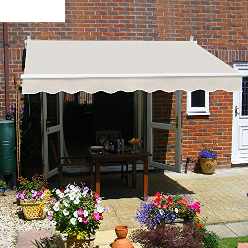Diensweek Patio Awning Retractable 8'x7' Fully Assembled Manual Commercial Grade - Quality 100% 280G Ployester Window Door Sunshade Shelter - Deck Canopy Balcony P100 Series (8'x7', Beige)