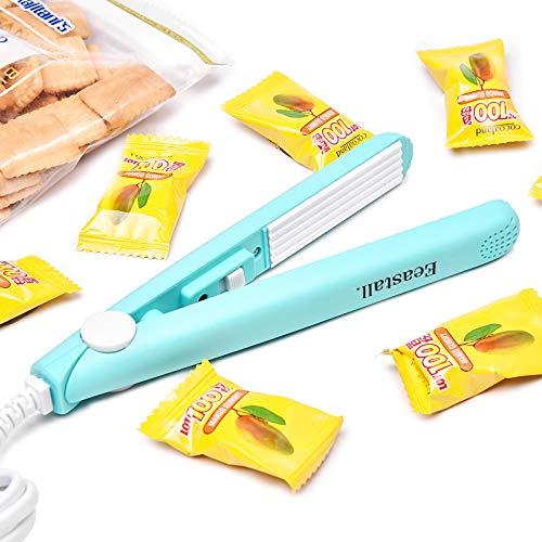 Mini Bag Sealer, Portable Handheld Heat Sealer Bag Resealer Smart Snack Mylar Chip Plastic Bag Sealer Heat Seal Machine with 43 inch Power Cable for Food Storage-Blue
