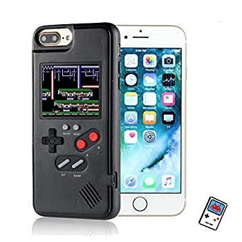 YLANK Gameboy Case for iPhone Retro 3D Gameboy Design Style Silicone Shockproof Cover Case with 36 Classic Retro Games,Color Screen Game Cover Case for iPhone  Black for iPhone 6P/7P/8P-5.5